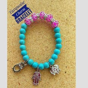Jewelry - Turquoise Charm Pink Beaded Bracelet